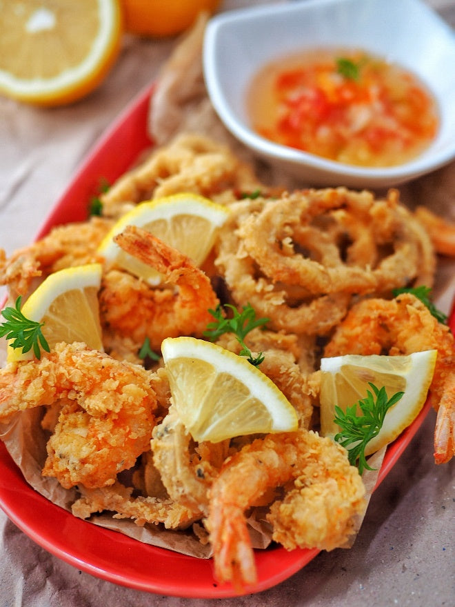 Crispy Squid and Prawns with Sweet Chili Sauce