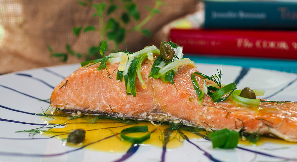 Baked Salmon with Leek Butter Sauce