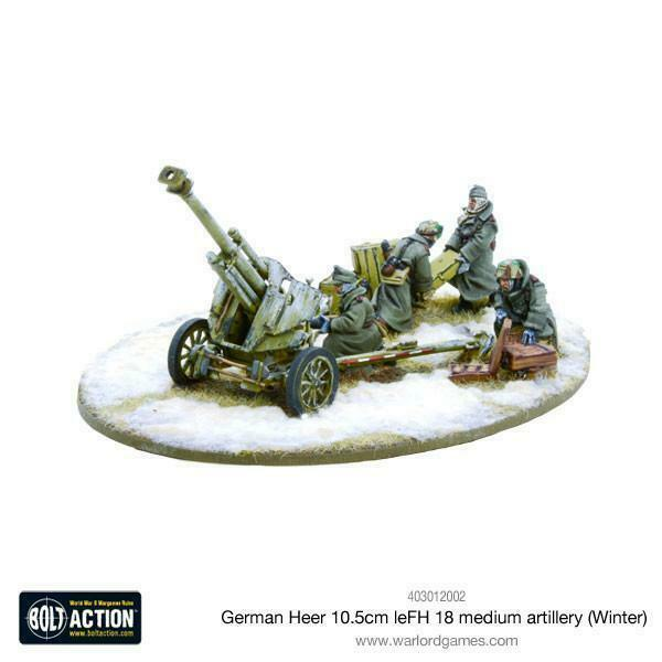 Bolt Action German Heer LeFH 18 10.5cm Med Artillery (Winter) New