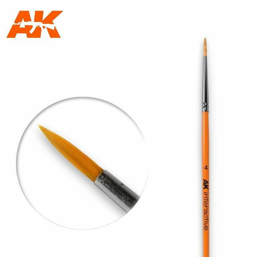 AK Interactive Round Brush 4 Synthetic New - TISTA MINIS