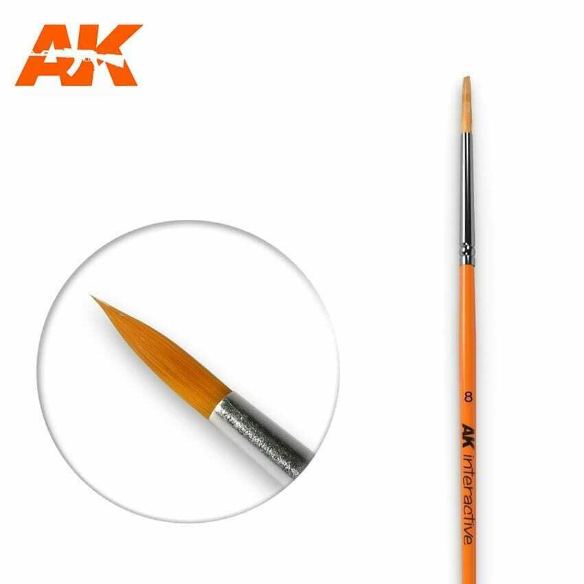 AK Interactive Round Brush 8 Synthetic New