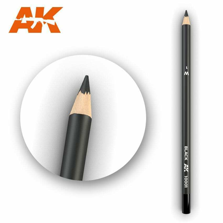 AK Interactive Watercolor Pencil Black New - TISTA MINIS