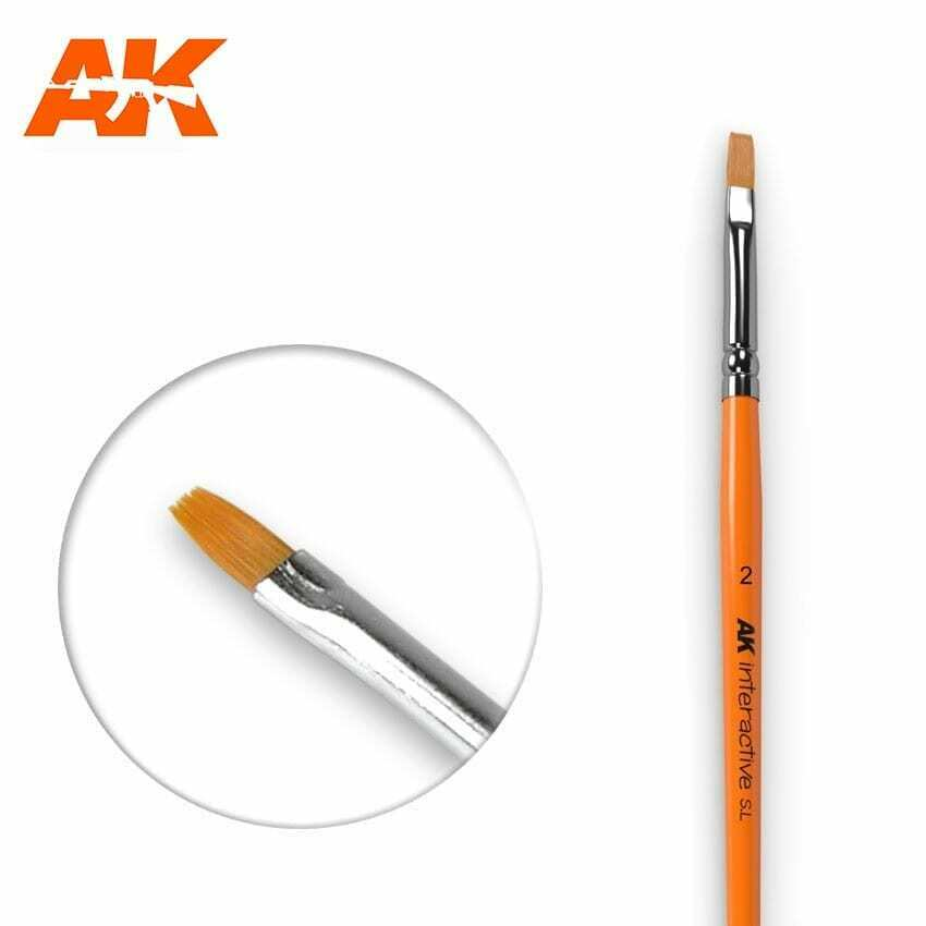 AK Interactive Flat Brush 2 Synthetic New
