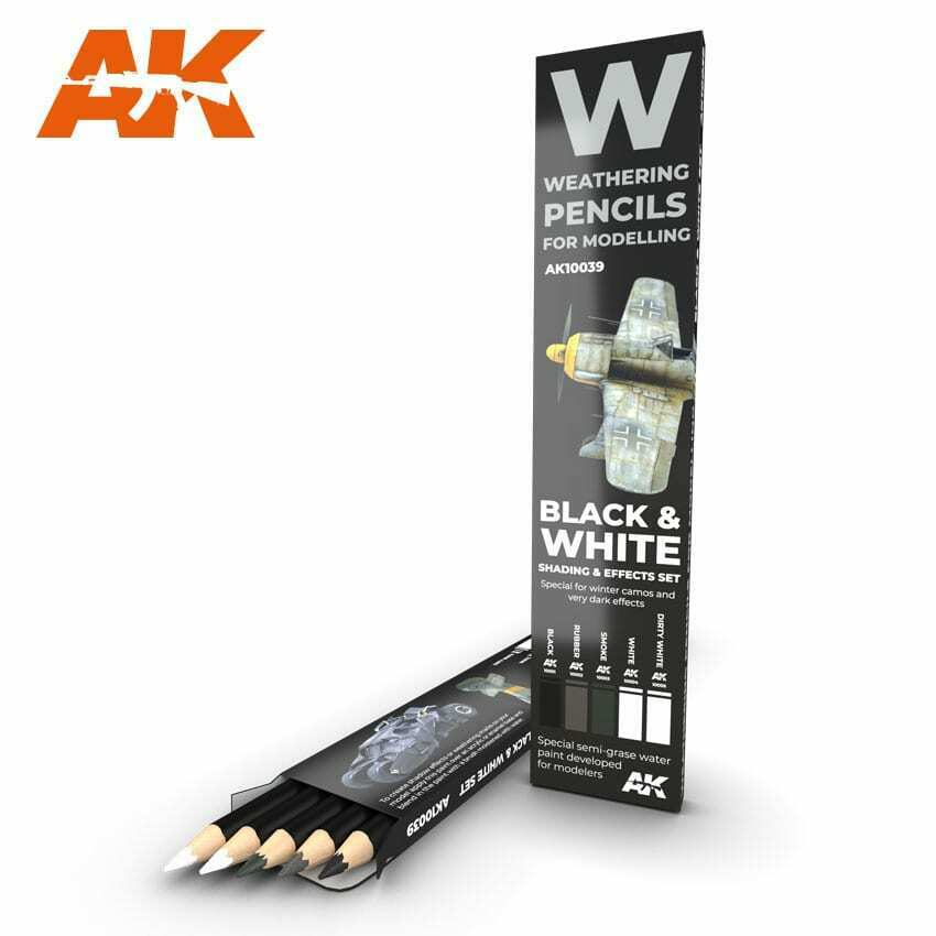 AK Interactive Watercolor Pencil Set Black And White New - TISTA MINIS
