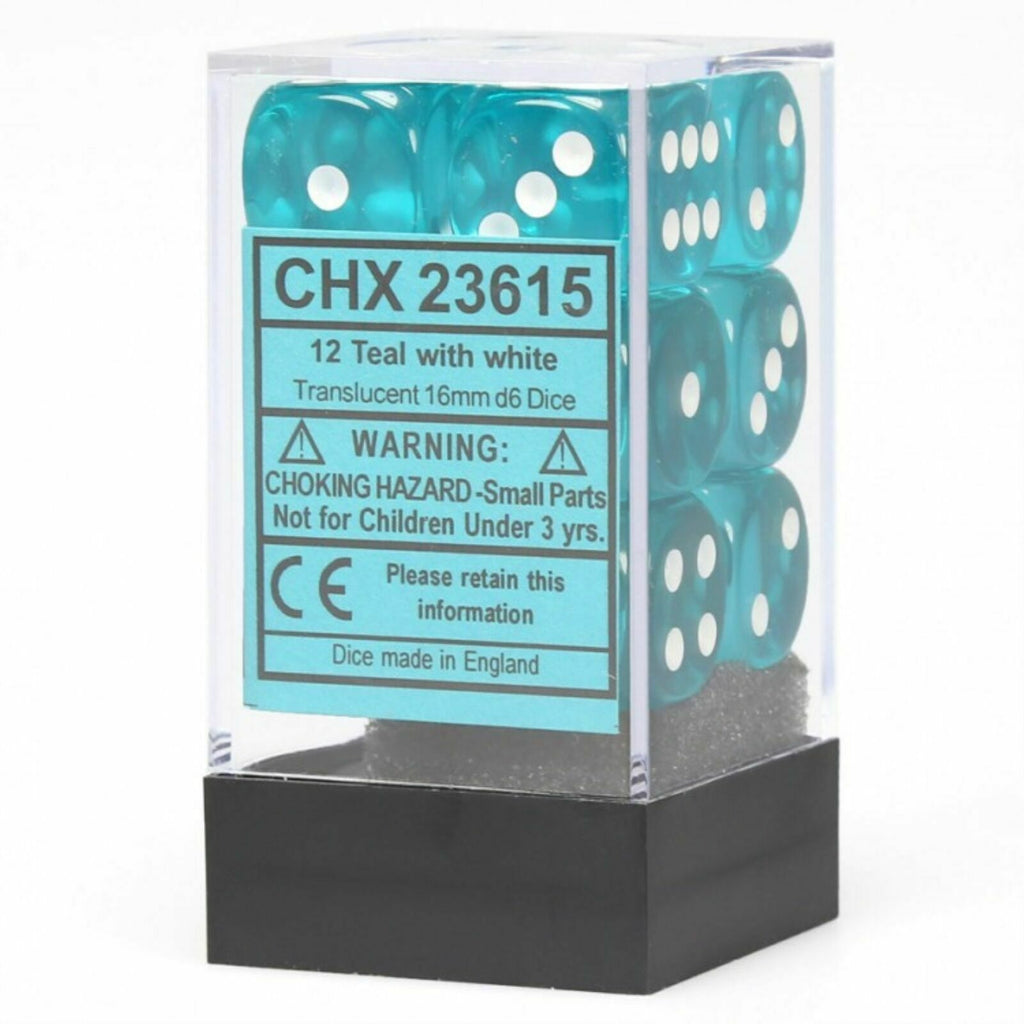 Chessex Translucent Teal/White Dice Set CHX23615 New