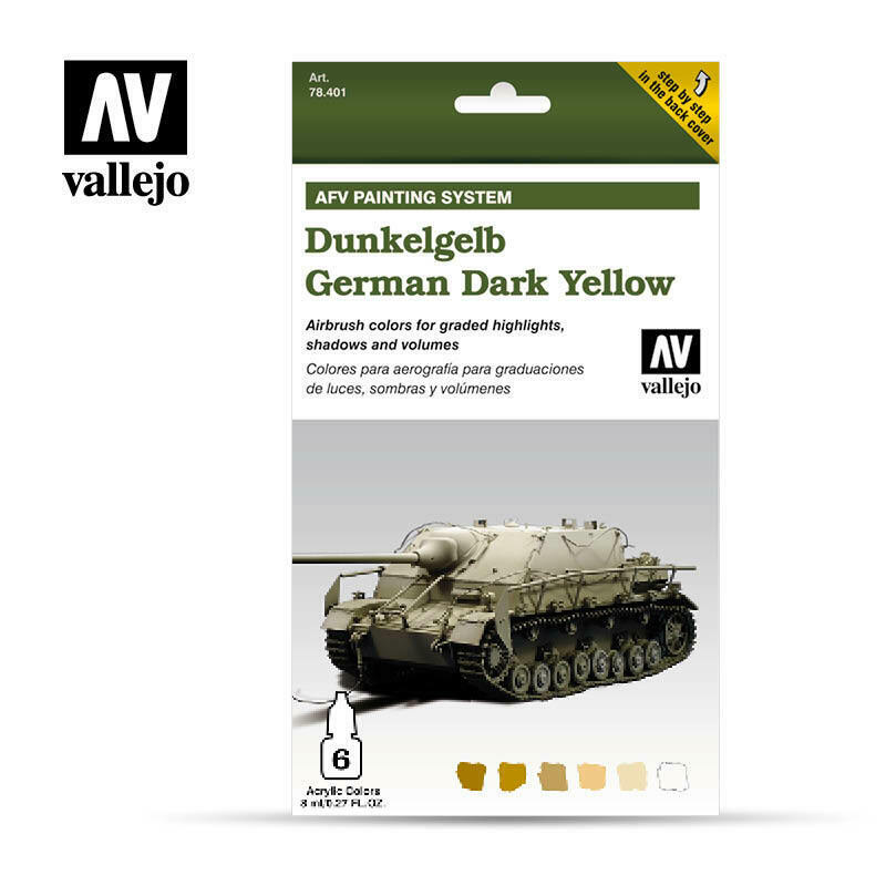 Vallejo AFV GERMAN DARK YELLOW - 6x8ml SET - AFV ARMOUR PAINTING Paint Set New