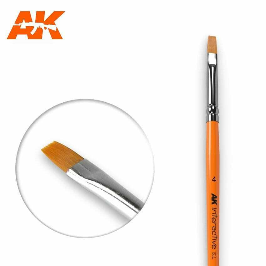 AK Interactive Flat Brush 4 Synthetic New