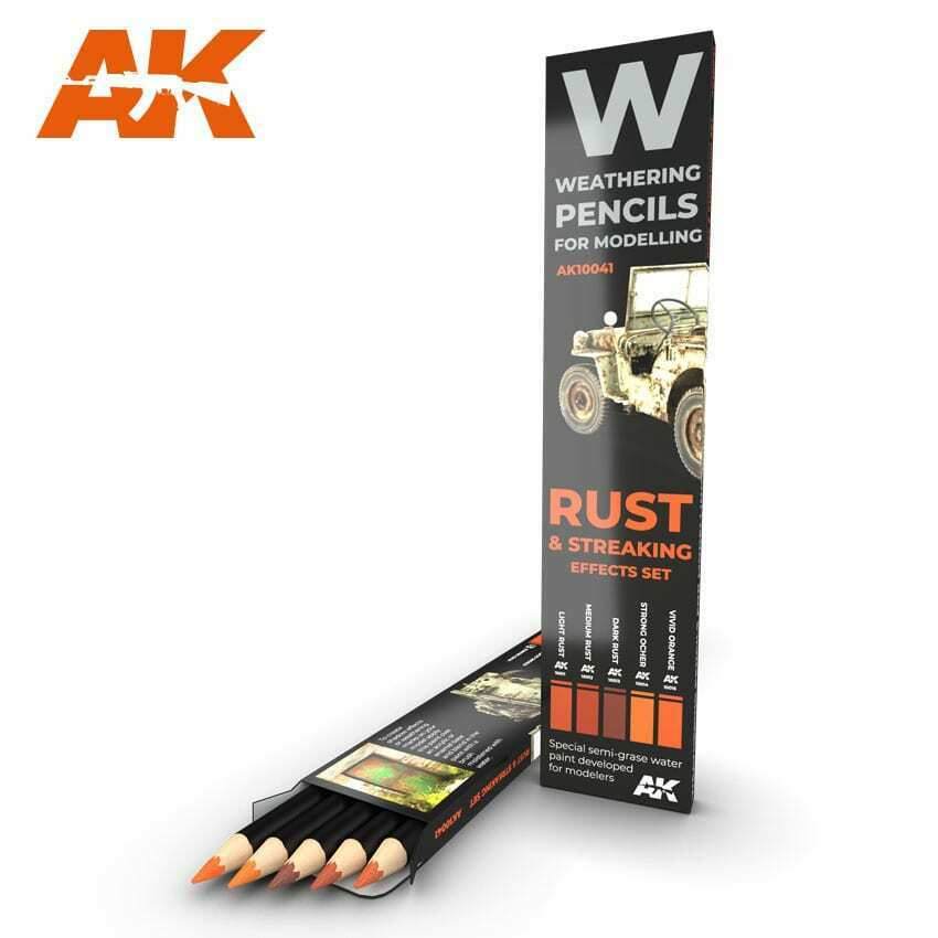 AK Interactive Watercolor Pencil Set Rust And Streaking New - TISTA MINIS