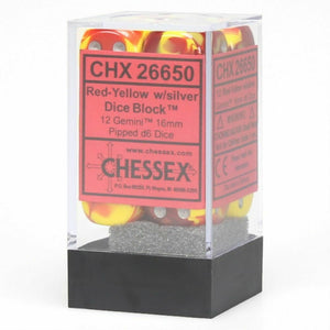 Chessex Gemini Red-Yellow Silver D6 Dice Set CHX26650 New