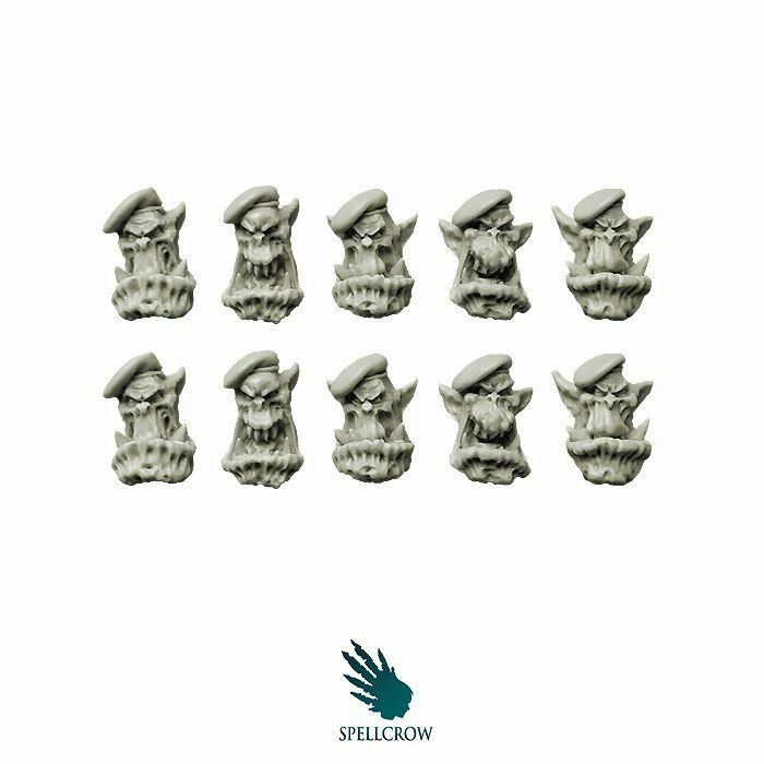 "Spellcrow Orcs Bulky ""Green Berets"" Heads - SPCB5123"