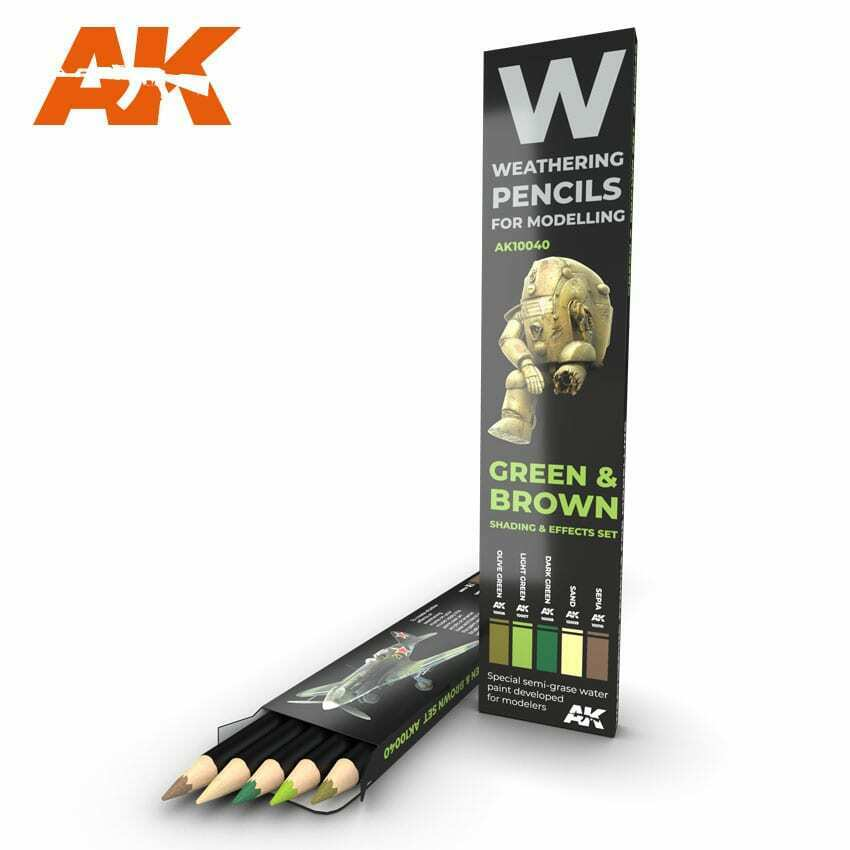 AK Interactive Watercolor Pencil Set Green And Brown Camouflages New - TISTA MINIS