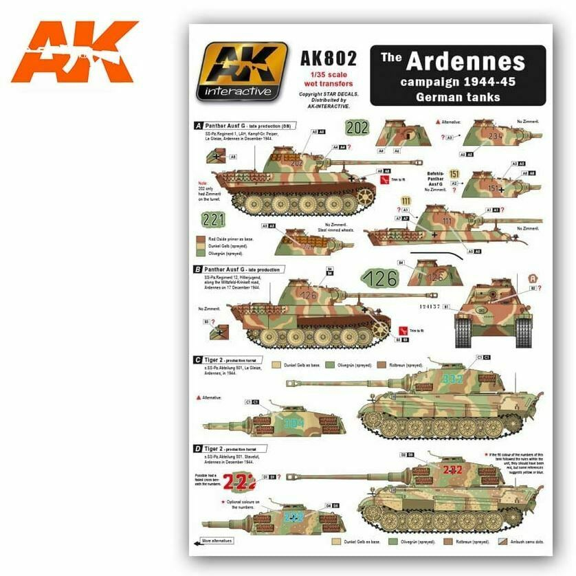 AK Interactive The Ardennes Campaign 1944-45 German Tank Transfers New - TISTA MINIS