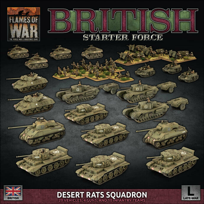 Flames of War British Starter Force Desert Rats Squadron New - TISTA MINIS