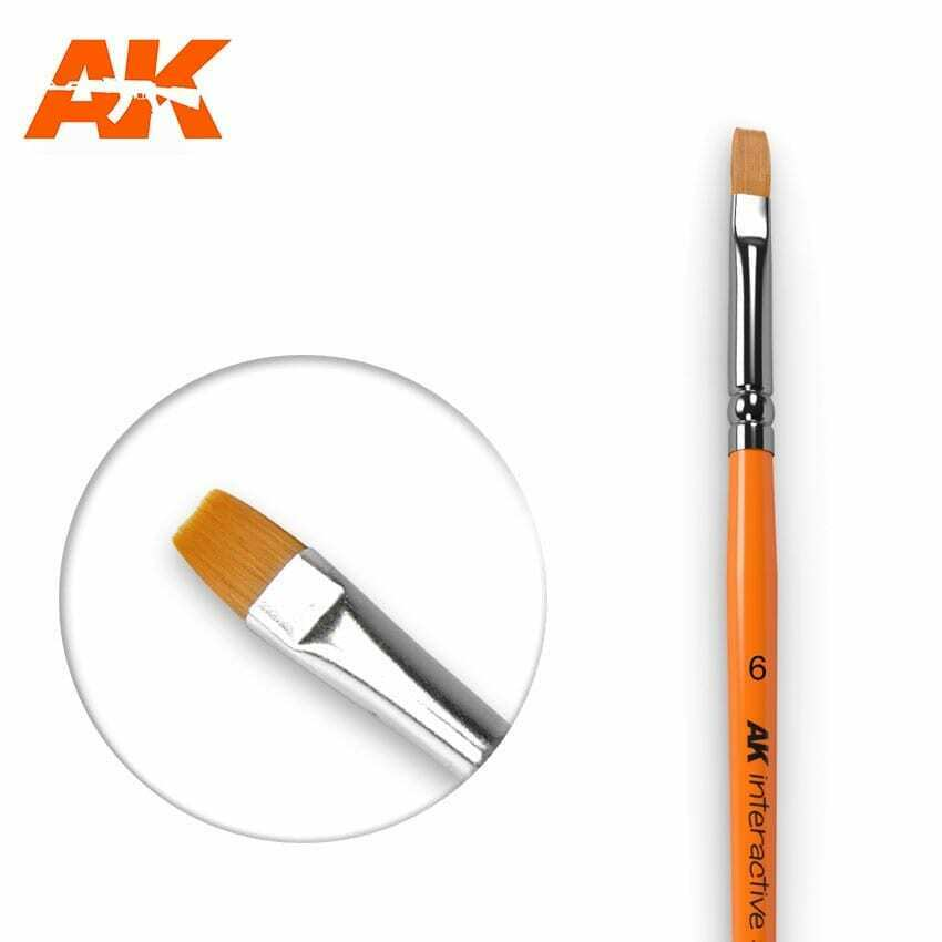 AK Interactive Flat Brush 6 Synthetic New