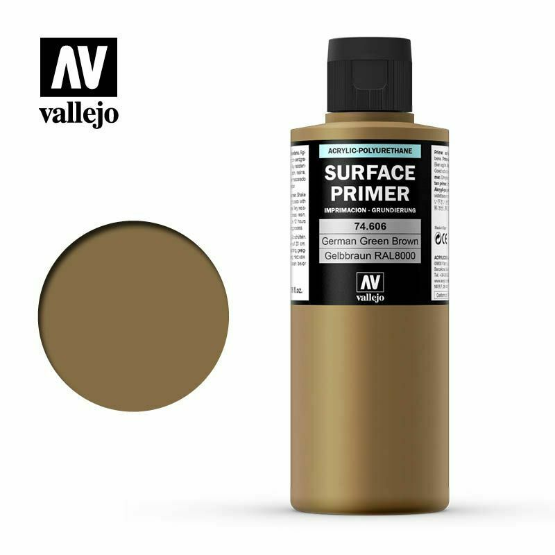 Vallejo Surface Primer Acrylic- German Green Brown RAL 8000 200ml - TISTA MINIS