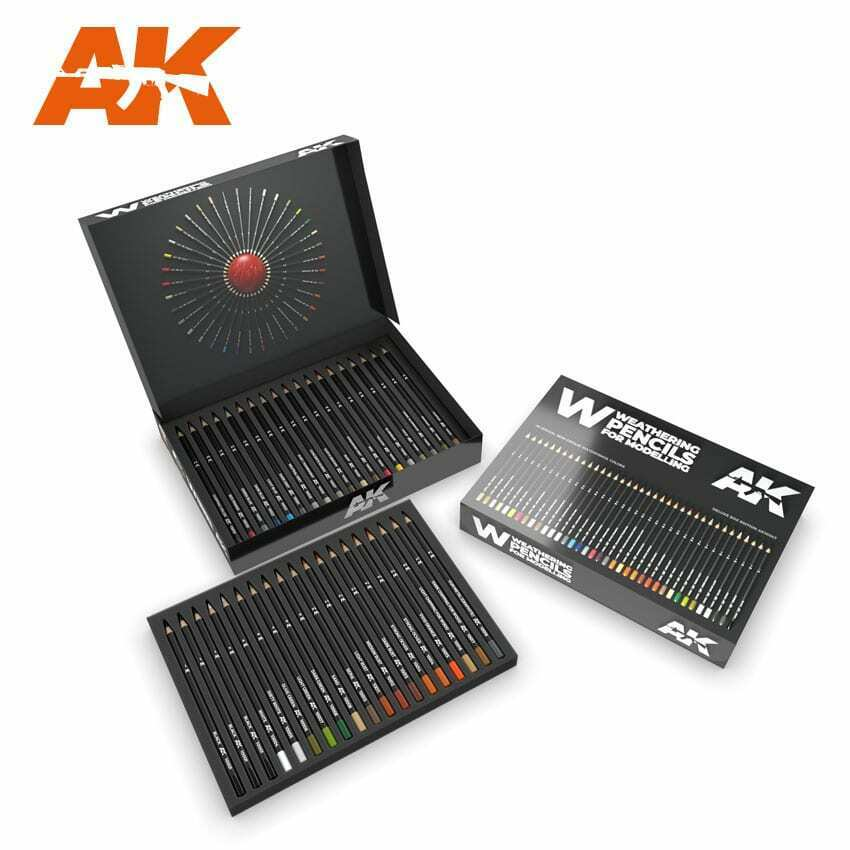 AK Interactive - Weathering Pencils Deluxe Edition Box (37 Waterpencils) Set New - TISTA MINIS