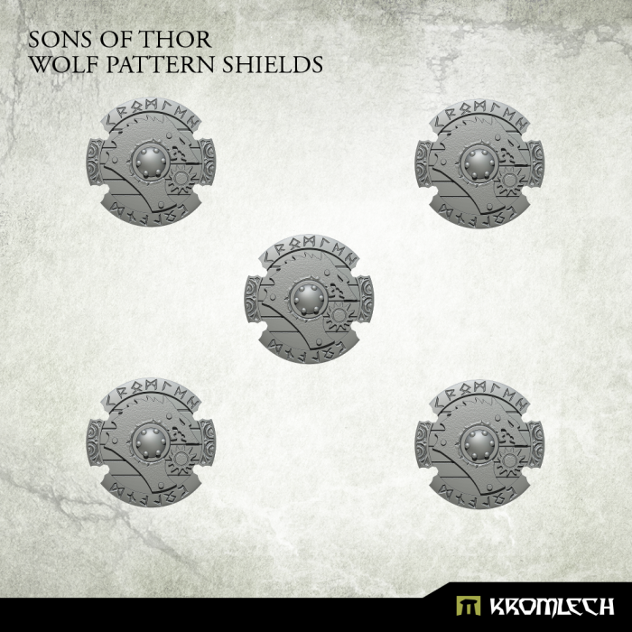Kromlech Sons of Thor: Wolf Pattern Shields (5) New