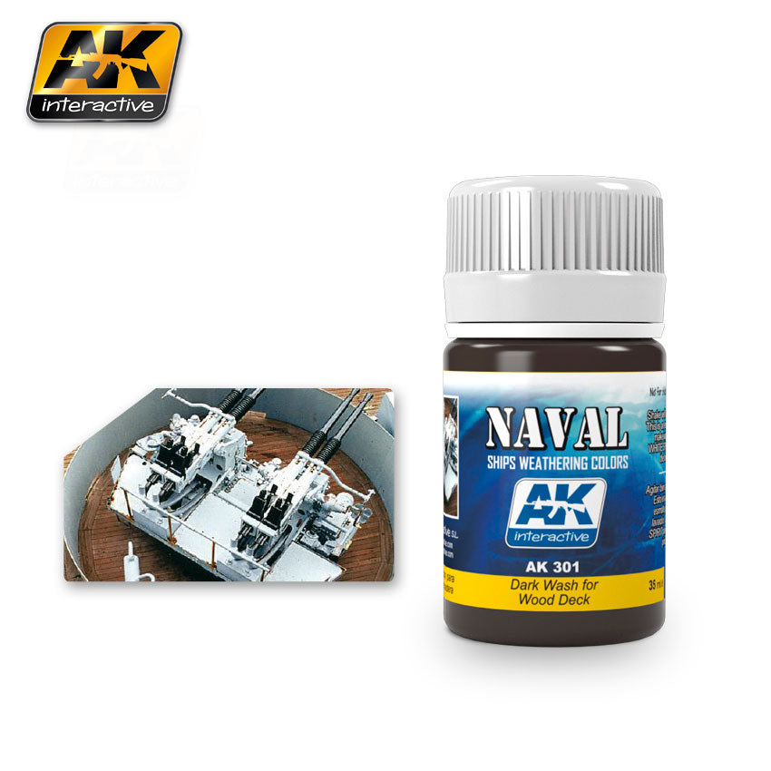 AK Interactive Weathering Dark Wash for Wood Deck Naval 35 ml New (AK301)
