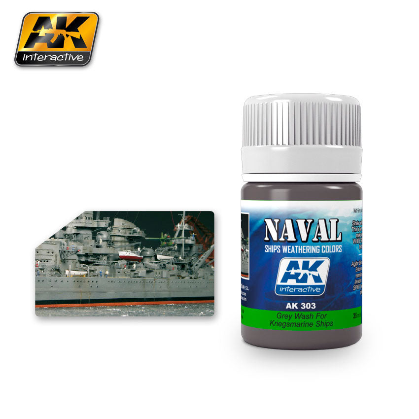 AK Interactive Weathering Grey Wash for Kriegsmarine Ships Naval 35 ml New (AK303)