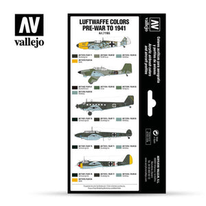 Vallejo Model Air Paint Set: Luftwaffe Colours Pre-War to 1941 - VAL71165