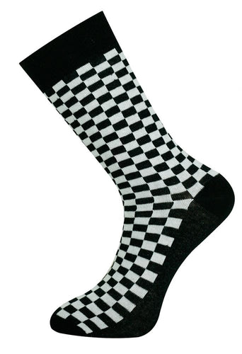 Checkerboard Sock Black/White