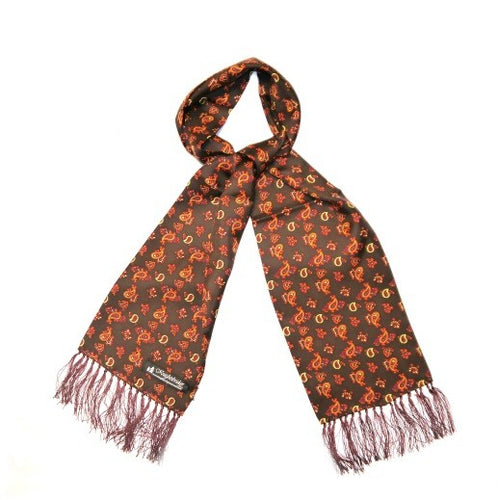 Silk Aviator Scarf Brown/Orange Small Paisley