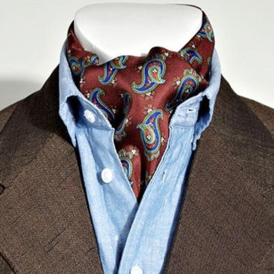 Silk Aviator Scarf Burgundy/Blue Paisley