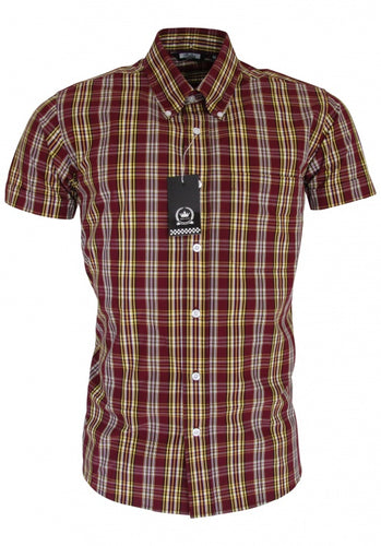 Ladies Check Shirt Burgundy/Mustard