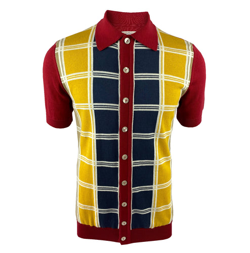 Fine Gauge Check Front Cardigan Blood