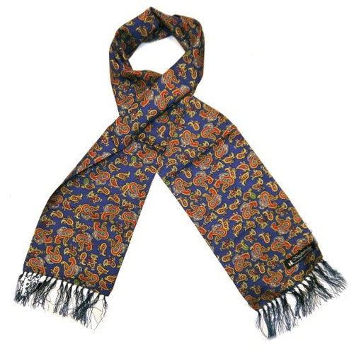 Silk Aviator Scarf French Navy/Orange/Yellow Paisley