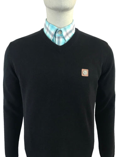 Plain Fine Gauge V-Neck Jumper Black