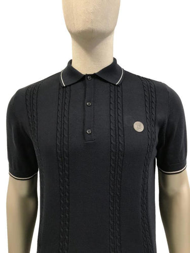 Cable Front Fine Gauge Polo Navy