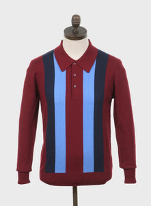 Ellis Knitted Polo Shirt Wine