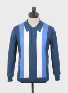 Ellis Knitted Polo Shirt Mid Blue