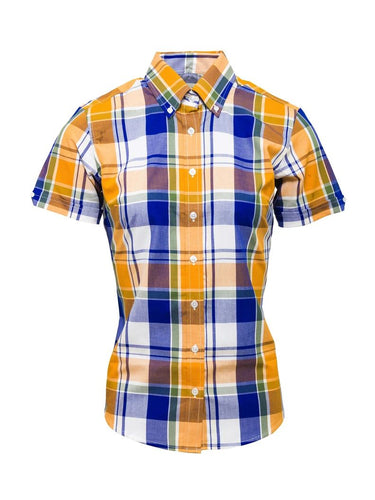 Ladies Check Shirt Yellow LSS-20