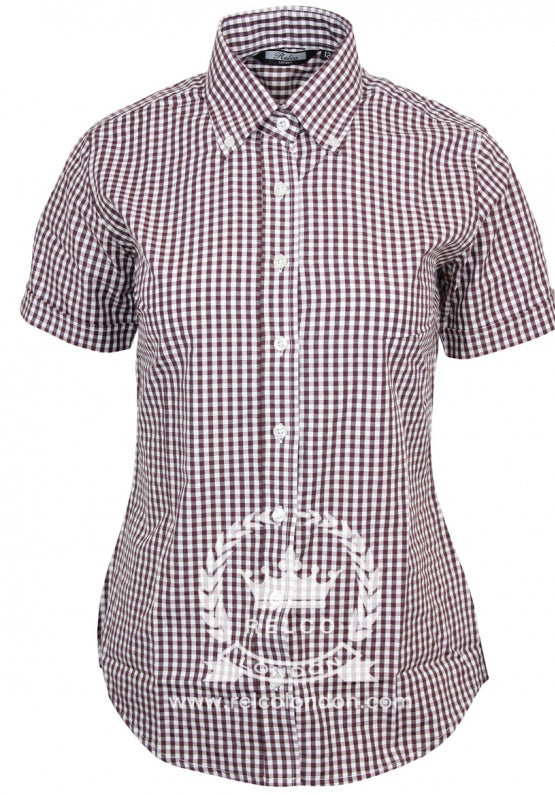 Ladies Gingham Shirt Burgundy