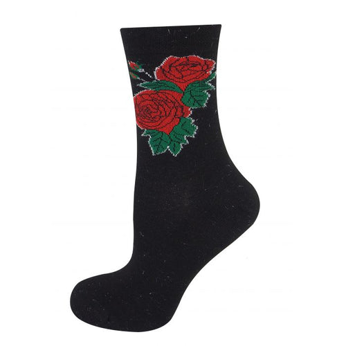 Glitter Rose Socks Black