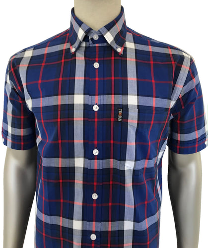 Madras Check S/S B/D Shirt with matching pocket square