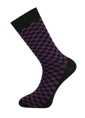 Checkerboard Sock Purple/Black