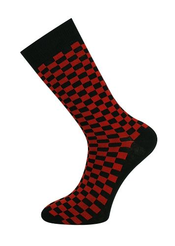 Checkerboard Sock Red/Black
