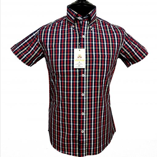 Red Black Olive Gingam SS Shirt