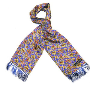 Silk Aviator Scarf Royal Blue/Red/Yellow Paisley