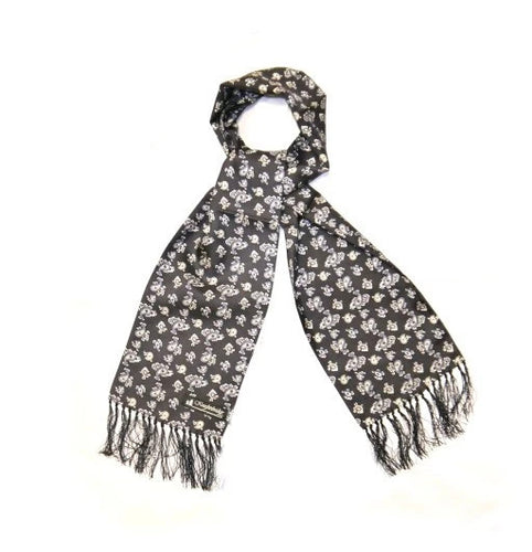 Silk Aviator Scarf Black/White Small Paisley