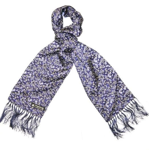Silk Aviator Scarf Blue/White Paisley