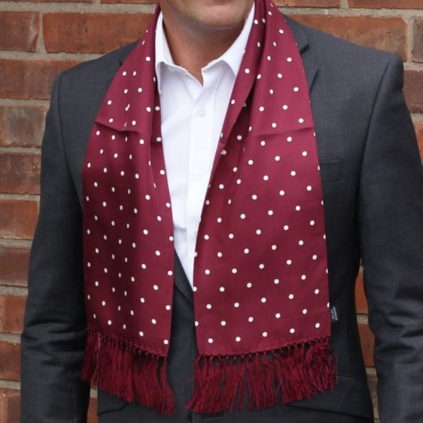 Silk Aviator Scarf Burgundy Polka Dot