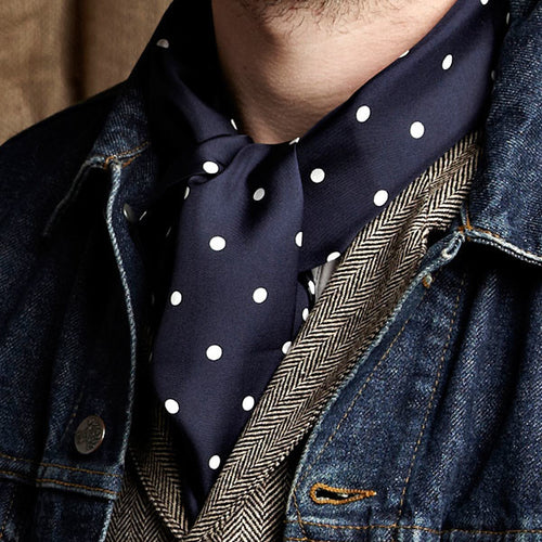 Silk Aviator Scarf Navy Polka Dot
