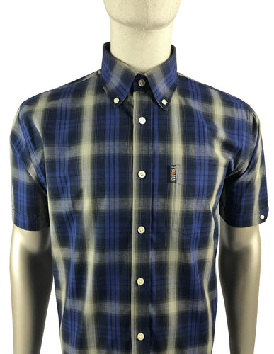 Shadow Check B/D Shirt Navy