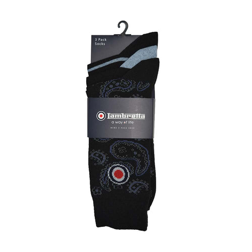 3 Pack Sock Paisley Black/Indigo