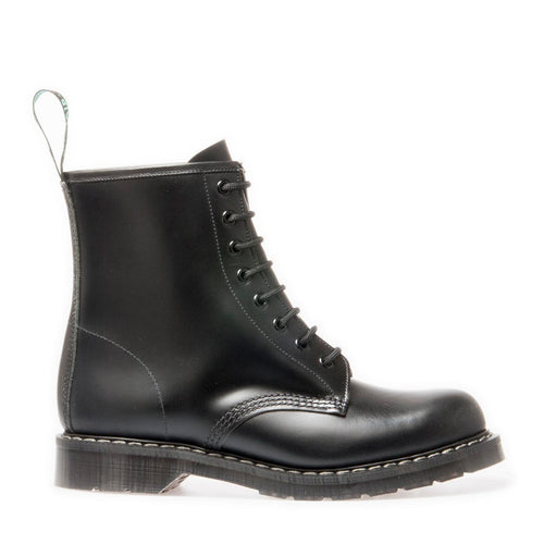 Derby Boot Black 8 Eye Hi Shine