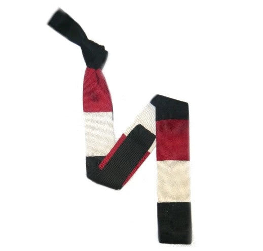 Silk Knitted Tie Black/White/Red Bold Stripes